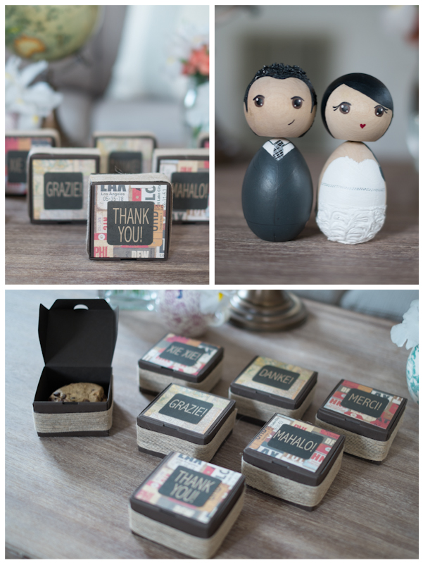 """DIY Favor Boxes (""""Thank You"""" in Different Languages) with Chocolate Chip Cookies"""