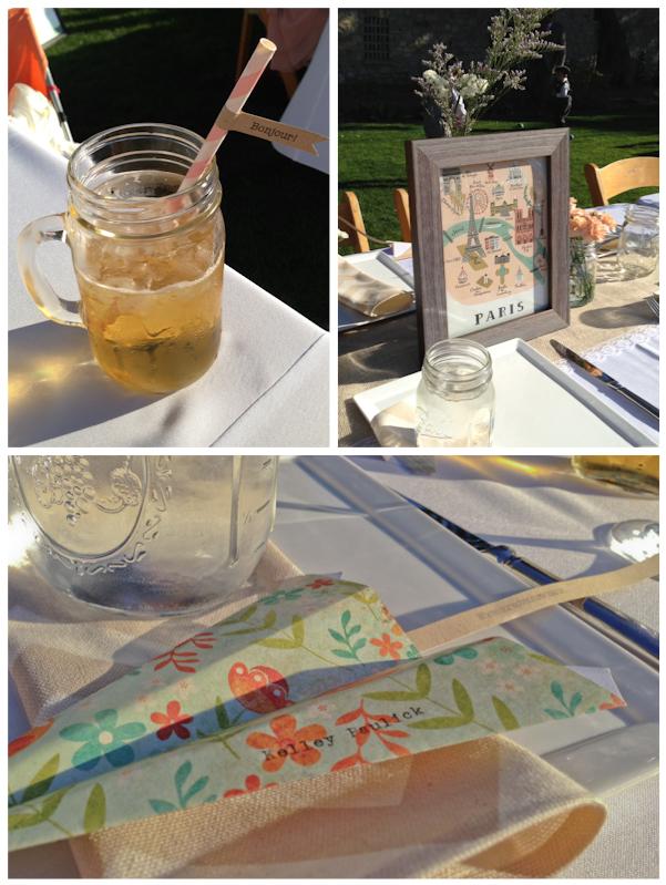 """Bonjour"" Paper Straw in Mason Jar ""Paris"" Table Name Airplane Place Card / DIY Chevron Napkin"