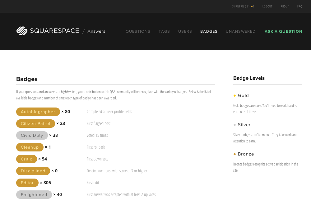 Screen captured from http://answers.squarespace.com/badges/