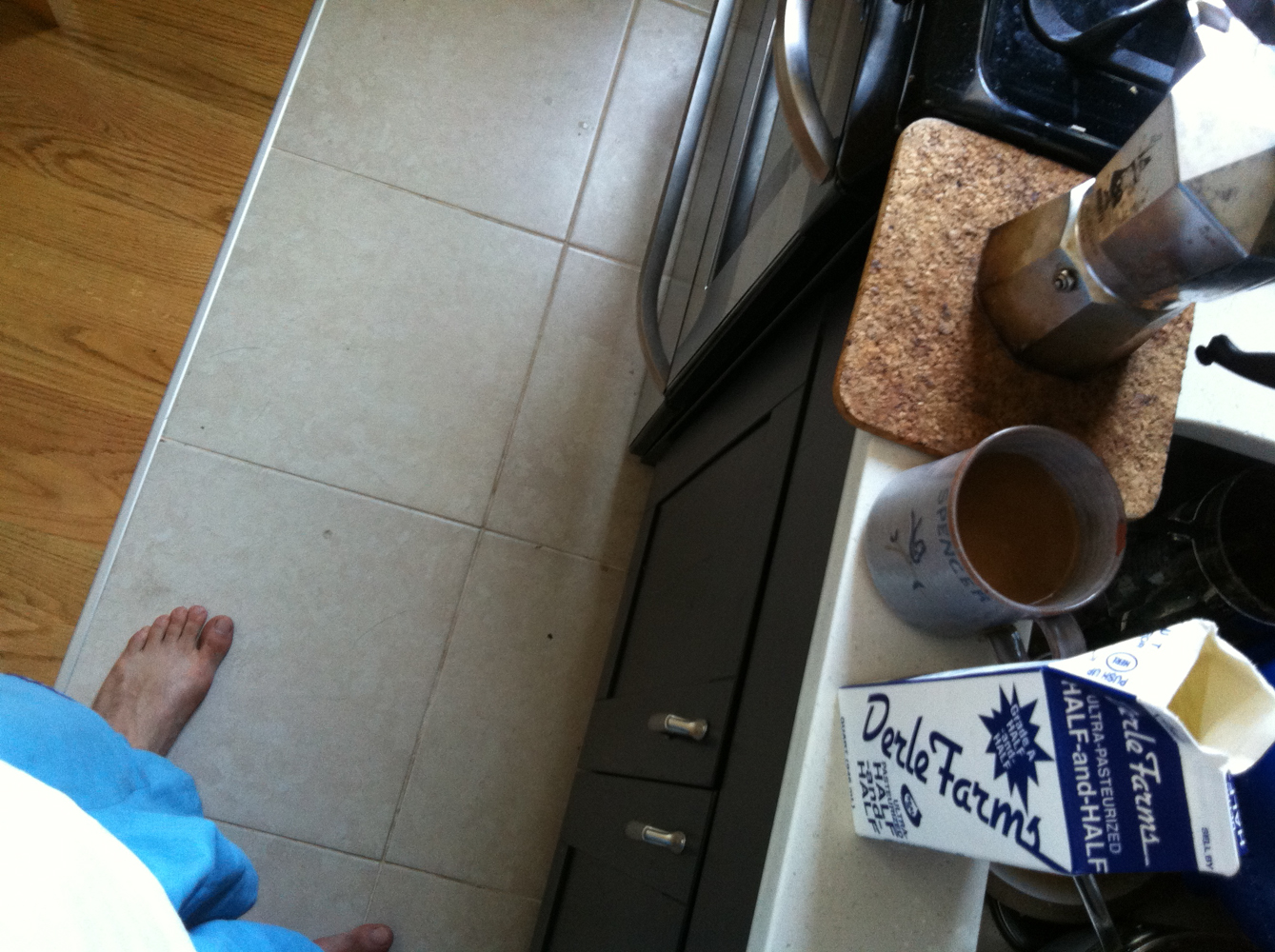 pictured: my feet, coffee, etc.  obv.