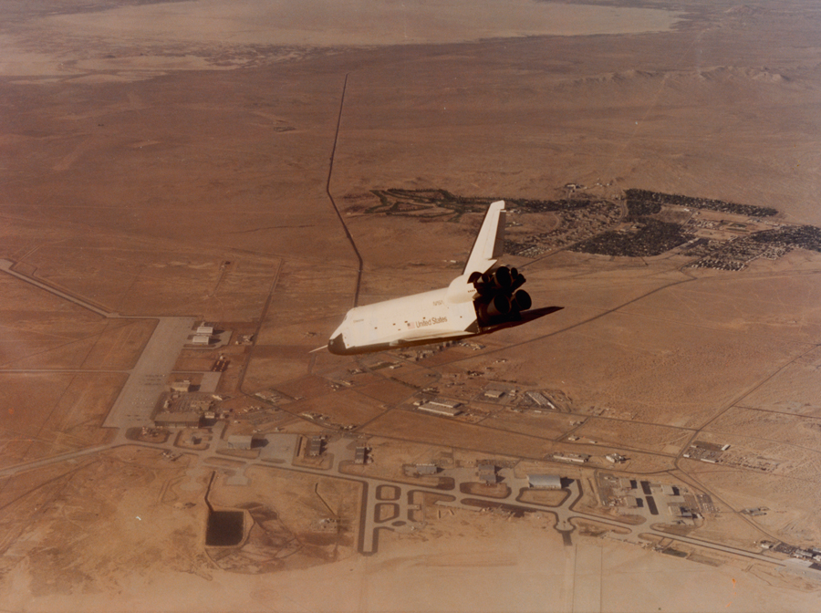A test orbiter flies before the actual shuttle Columbia, March 1981.  PHOTOGRAPH BY NASA
