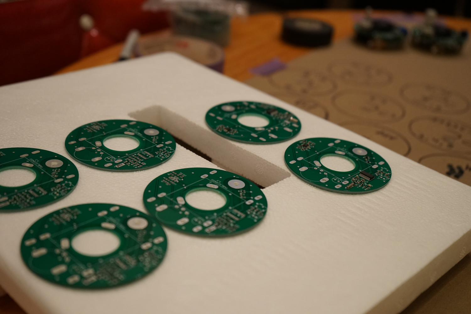 Soldered & partially assembled (but not reflowed) PCBs.