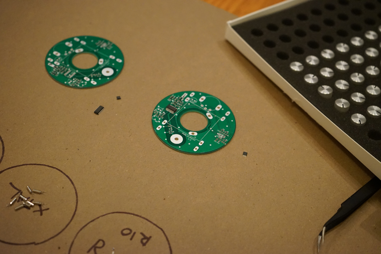Partially assembled boards. Our knobs showed up too; they're looking really pretty :)