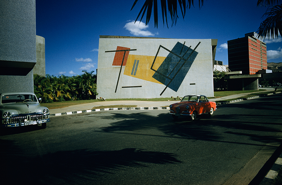 Geometric patterns enliven a wall of an auditorium in Caracas, Venezuela, March 1963.    PHOTOGRAPH BY THOMAS J. ABERCROMBIE, NATIONAL GEOGRAPHIC