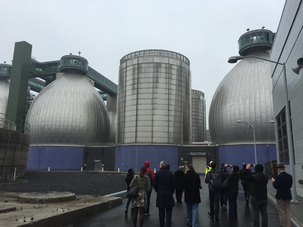 The digester eggs. The stainless steel is decorative; the egg shape is functional.