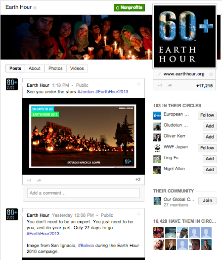 Earth Hour on Google+