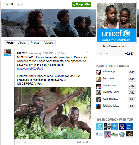 UNICEF on Google+
