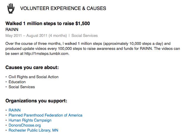 Volunteer experience on LinkedIn