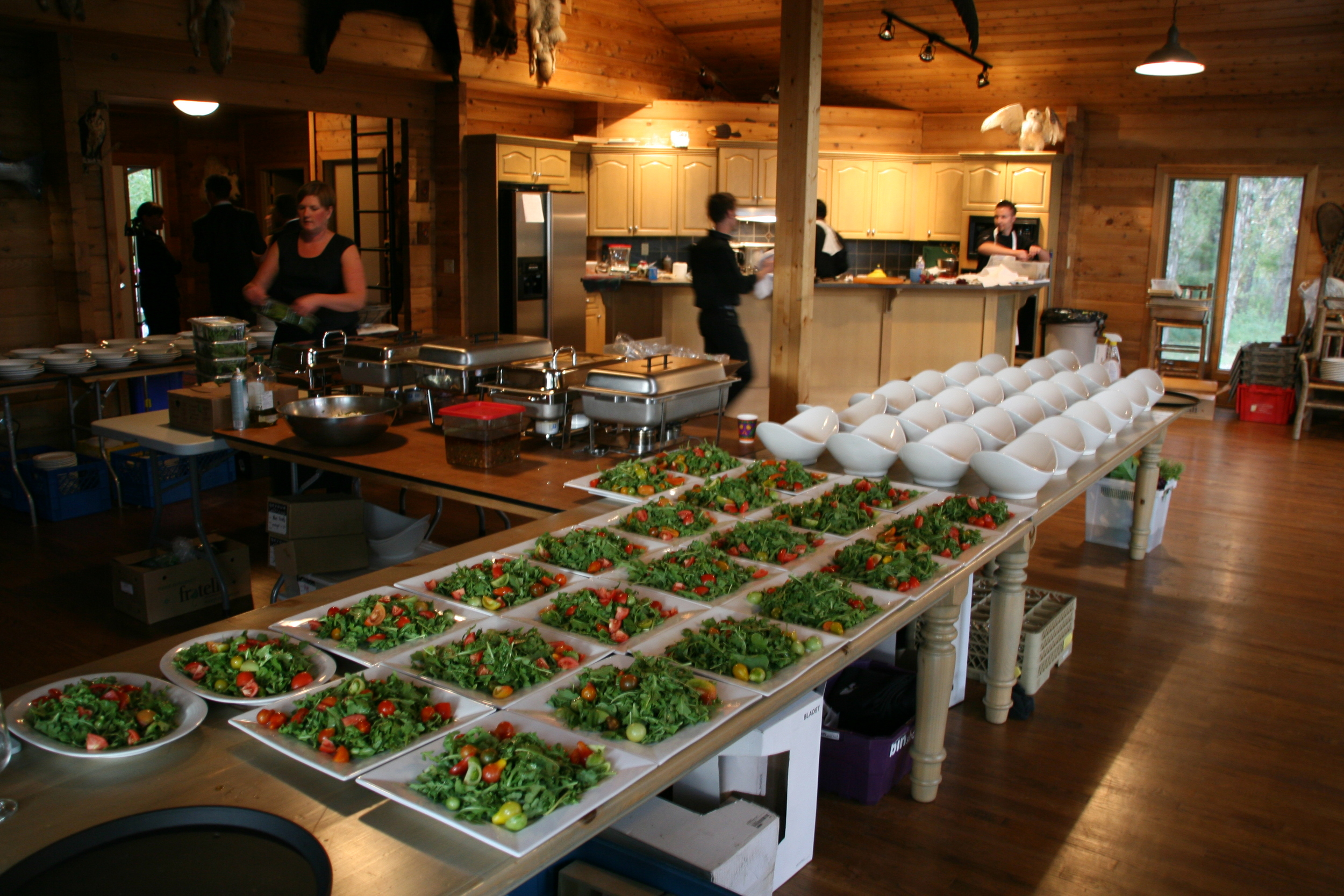 No kitchen? No problem. These platters are ready for a family-style wedding for 180 guests .