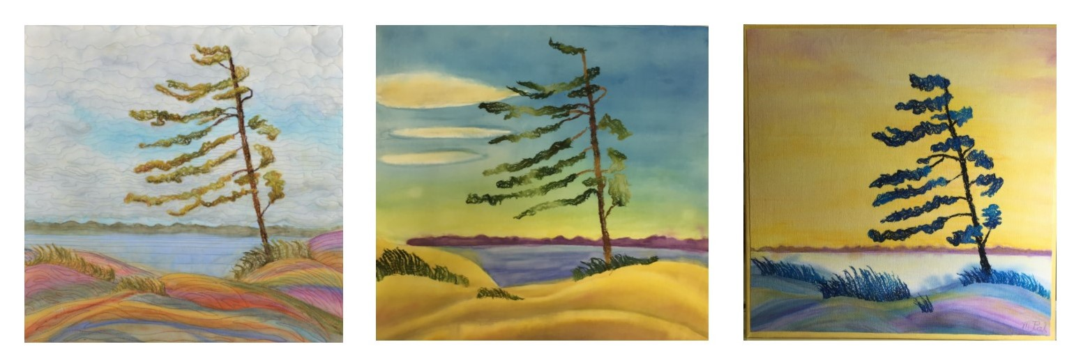 Vary the painted background to suit the cheesecloth trees and grasses.