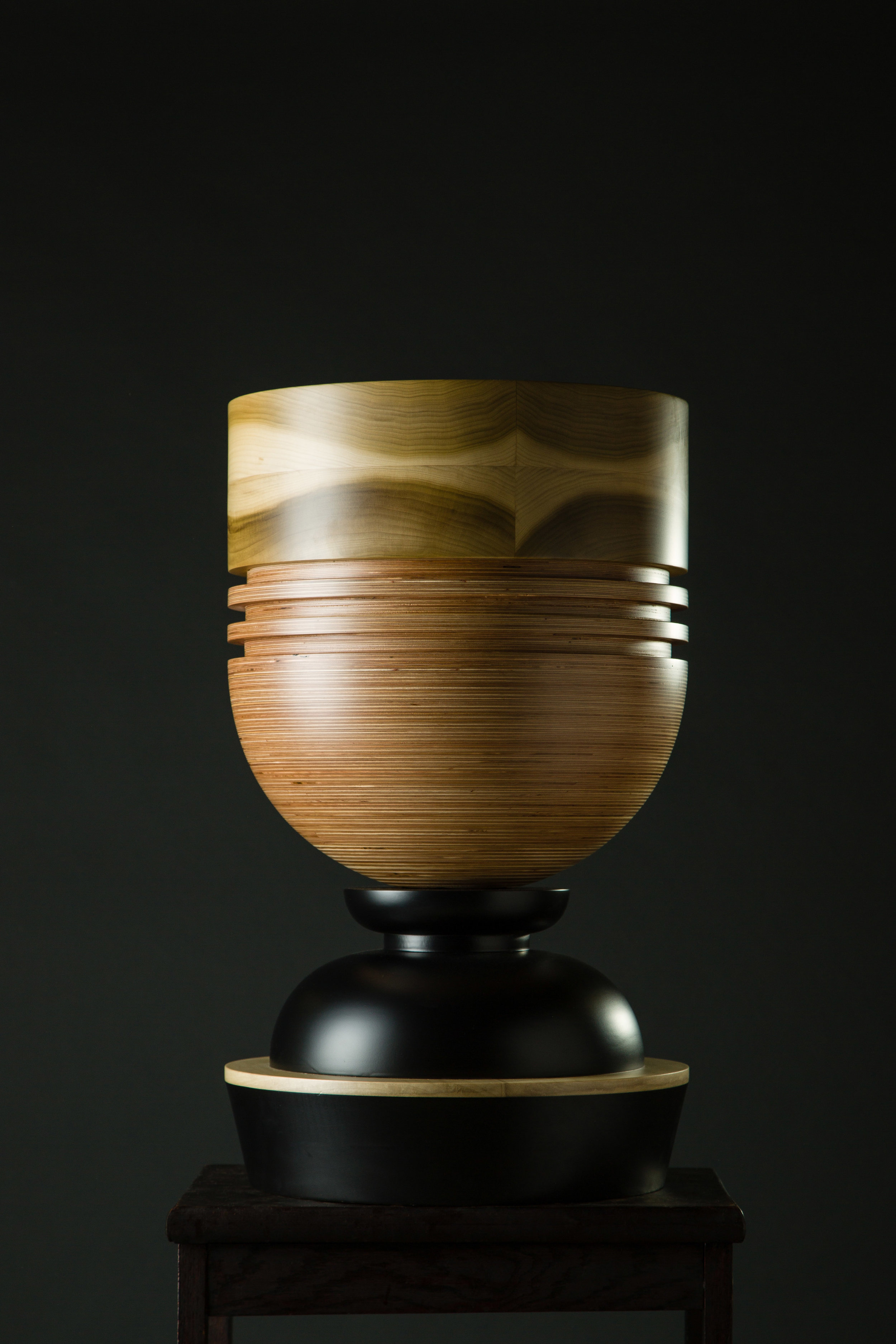 Contemporary wood sculpture vessel by Simone Brewster Tropical Noire