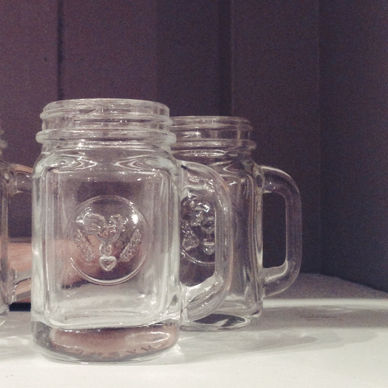 OK. This is the worst photo ever BUT check. out. these. mason jar. shot glasses. Shot glasses. Whaaaaaaat. May have audibly gasped when I saw them. So stinkin' cute.