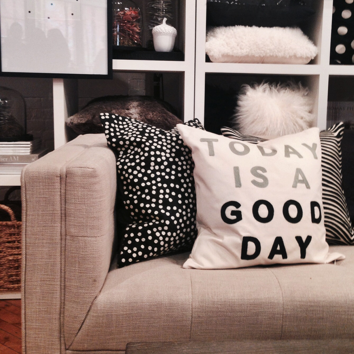"Last on my Indigo Faves list was this ""Today is a good day"" pillow (which I'm pretty sure that all of us who attended the preview took the exact same photo.) It just demands attention... and to be honest, I'm not usually one for ""words on objects"", I think it can easily drift into the realm of cliché, but this pillow is kind of neat. It might be the use of the bold, plain font that helps it's design, now that I think about it, but it works. If anything, it at least inspires me to want to take up embroidery or something."