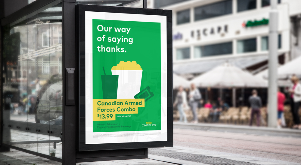 Promotional campaign targeted at students and those employed in the military (Cineplex)