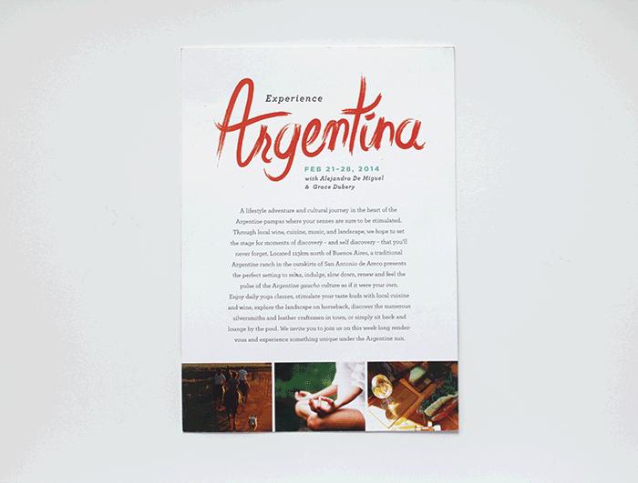 Postcard designed for a yoga retreat in Argentina. (Lettering/design: Andrea Zadro. Art direction: Angela Milana)
