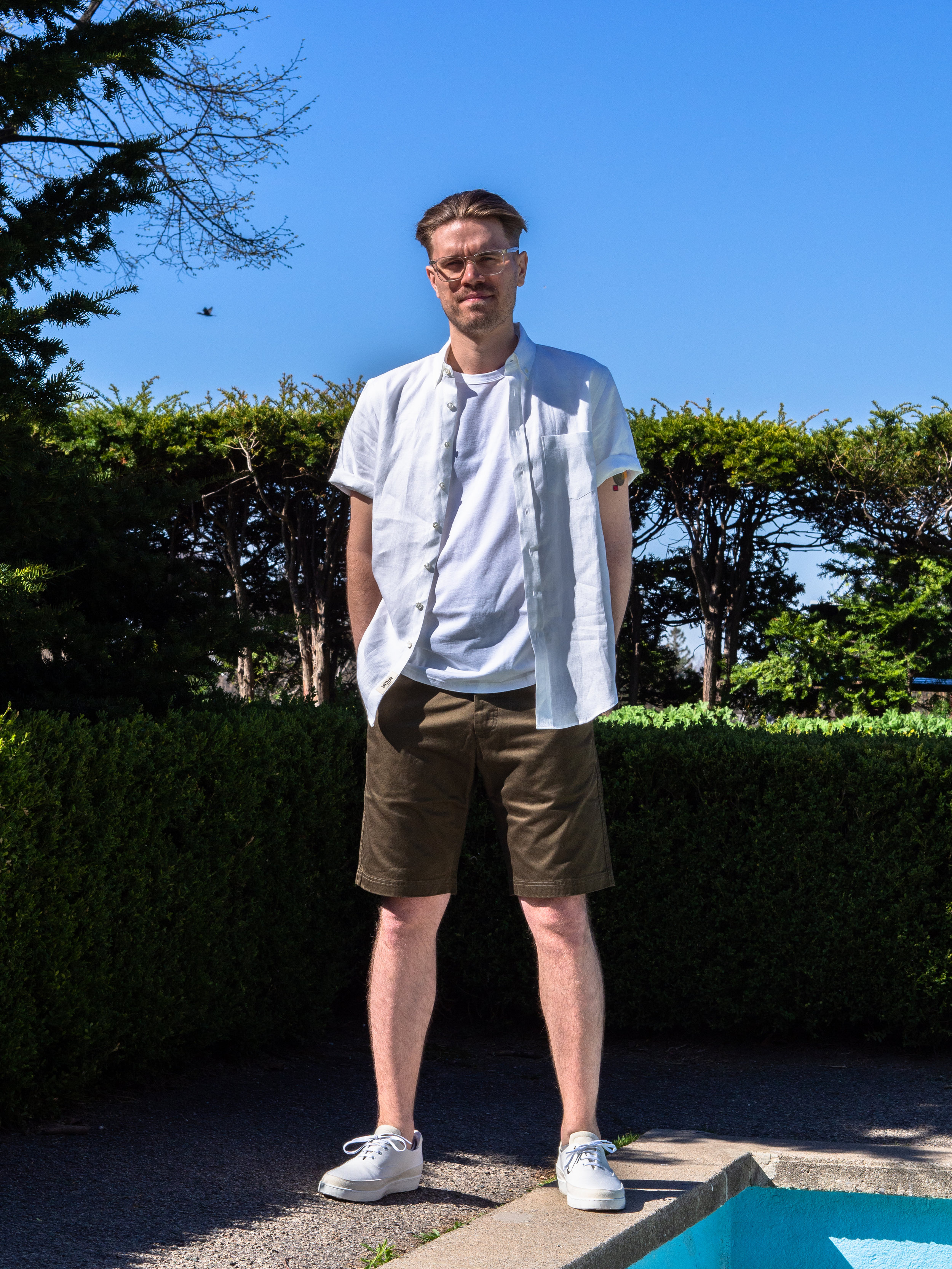006    Outclass  Linen Short Sleeve      Wings + Horns  Shorts     WANT Les Essentiels  Sneakers