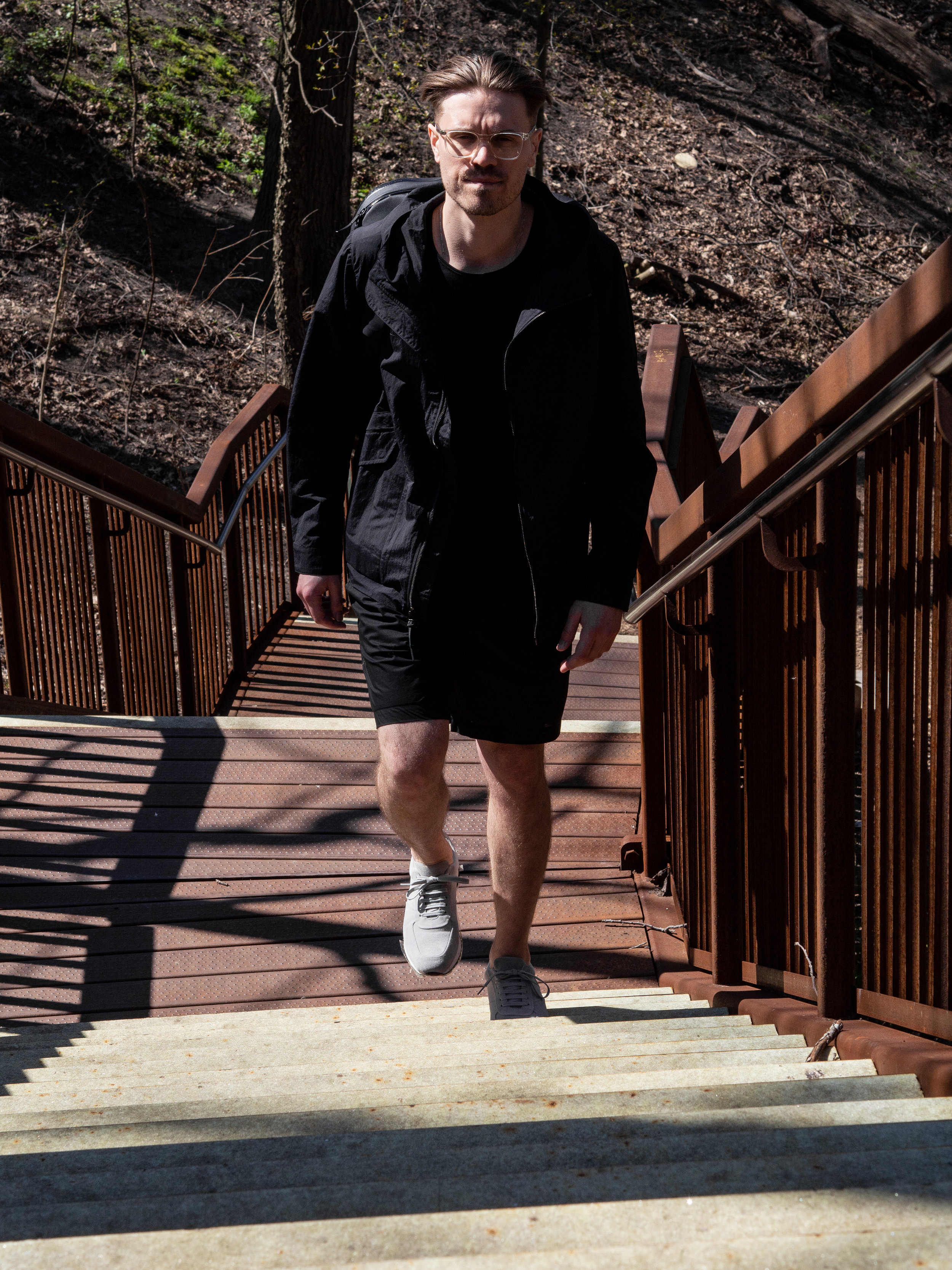 012    Wings + Horns  Storm Jacket ,  Linen Shirt  / Shorts and  Sneakers     Arc'teryx Veilance  Backpack