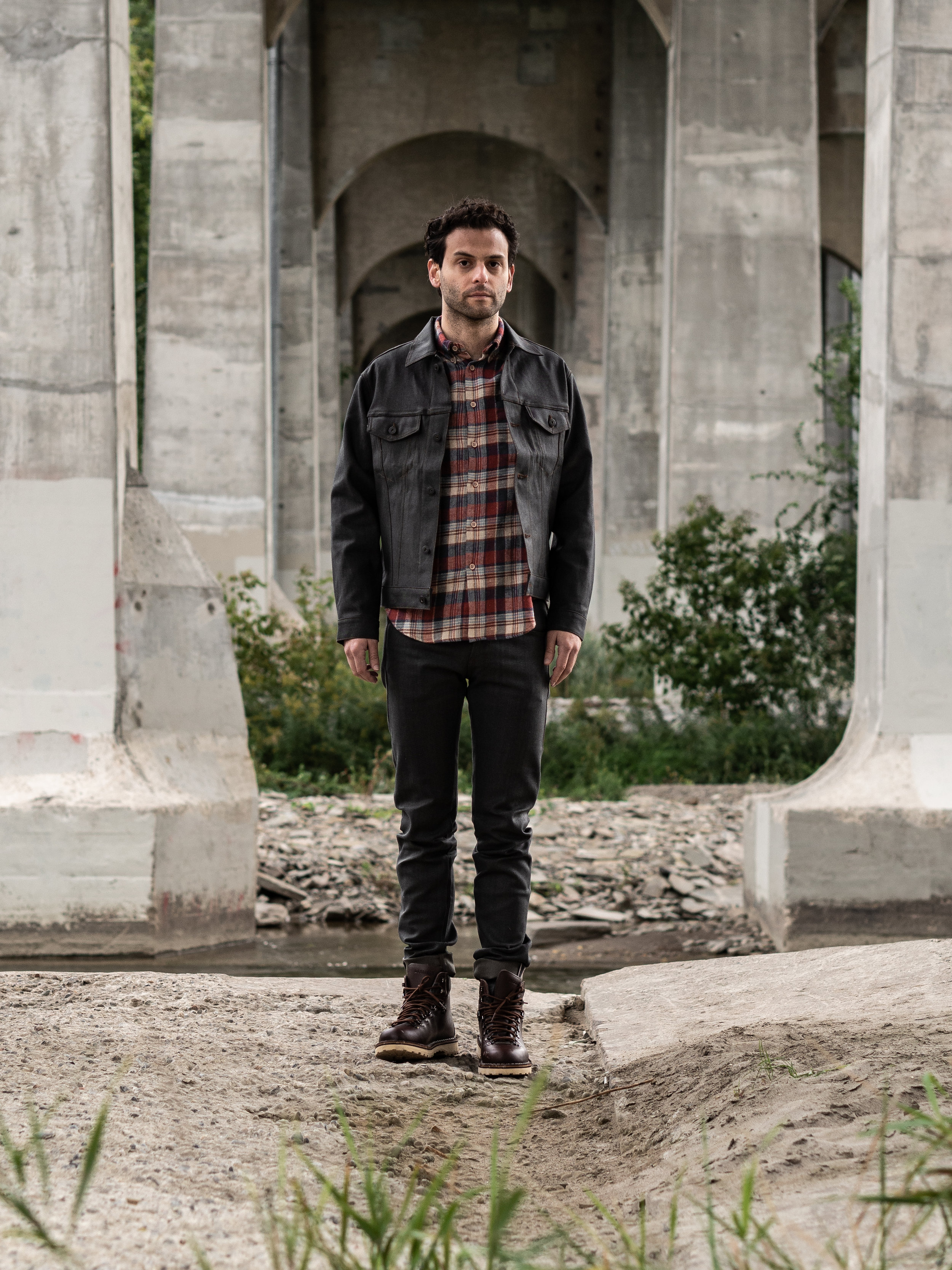 Look 001    Naked & Famous    Jacket   ,    Shirt    and    Denim     Diemme    Boots