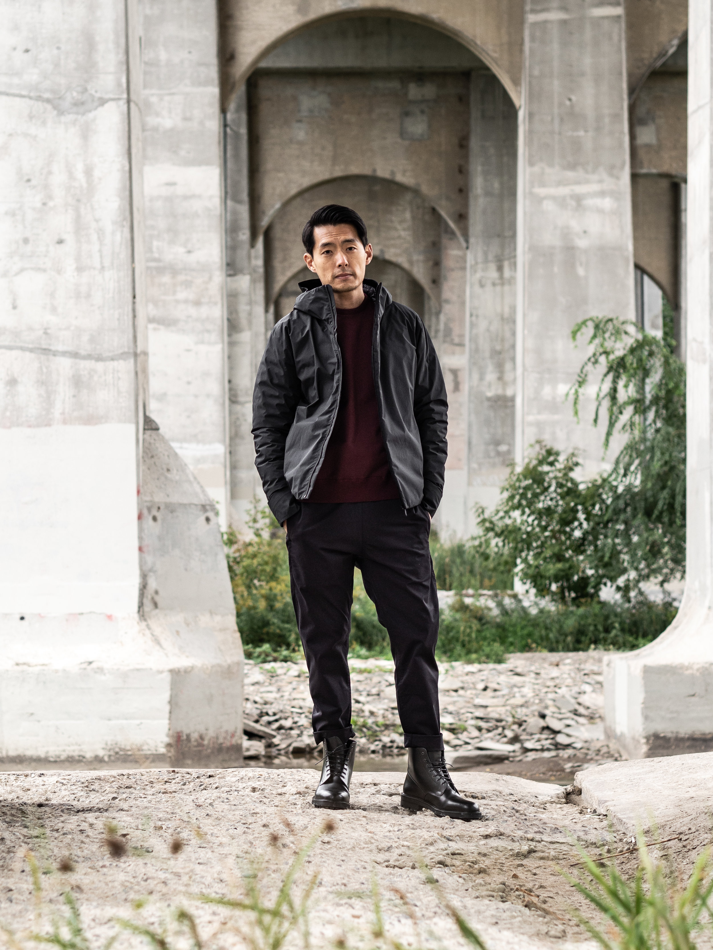 Look 005    Arc'teryx Veilance    Coat     Reigning Champ    Sweater     Wings + Horns    Pants    and    Boots