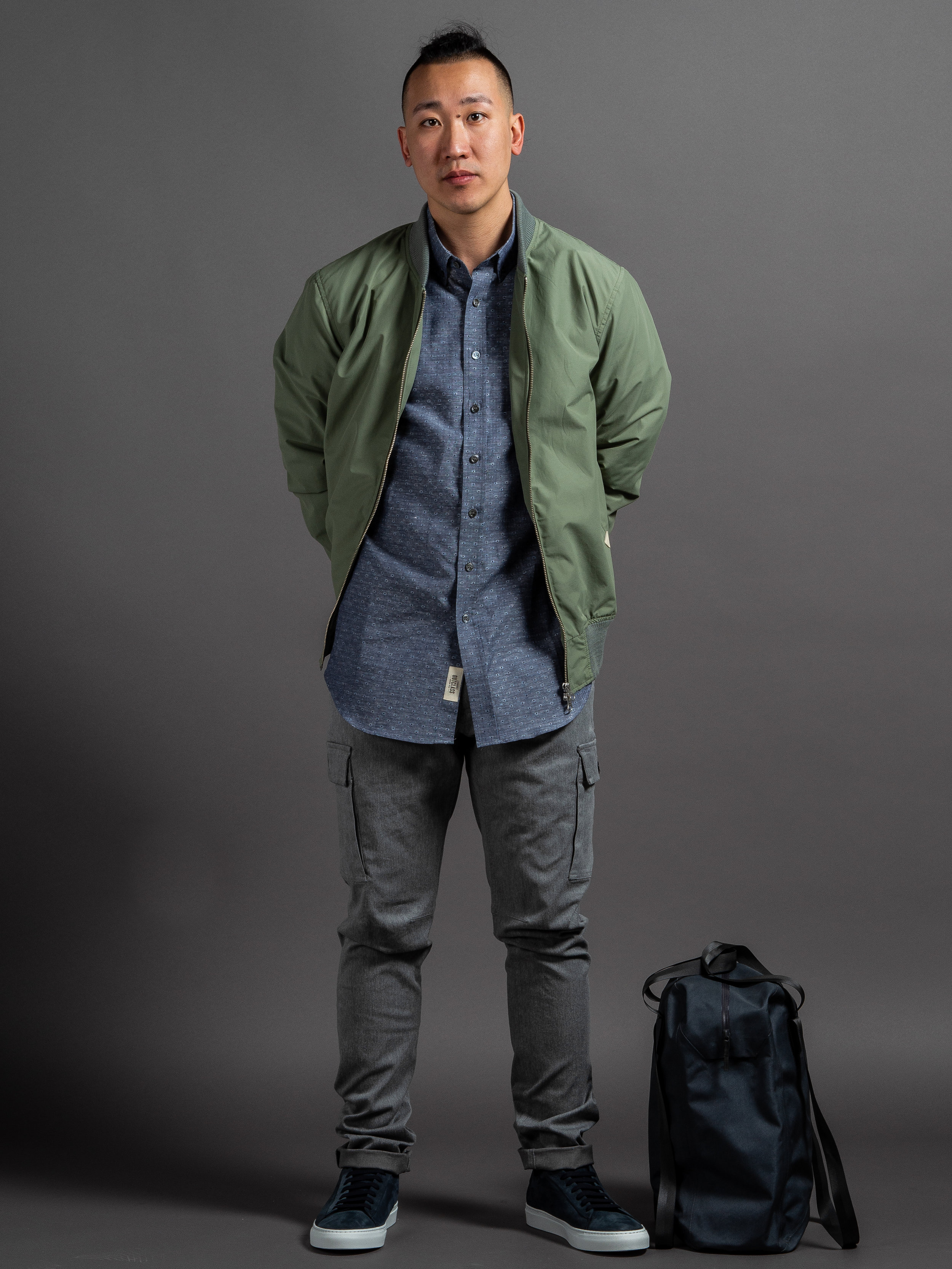 Outclass Bomber Jacket  Outclass Linen Dobby Shirt  Outclass Stretch Expedition Pants  Wings + Horns Nubuck Court Sneakers    SHOP THIS LOOK