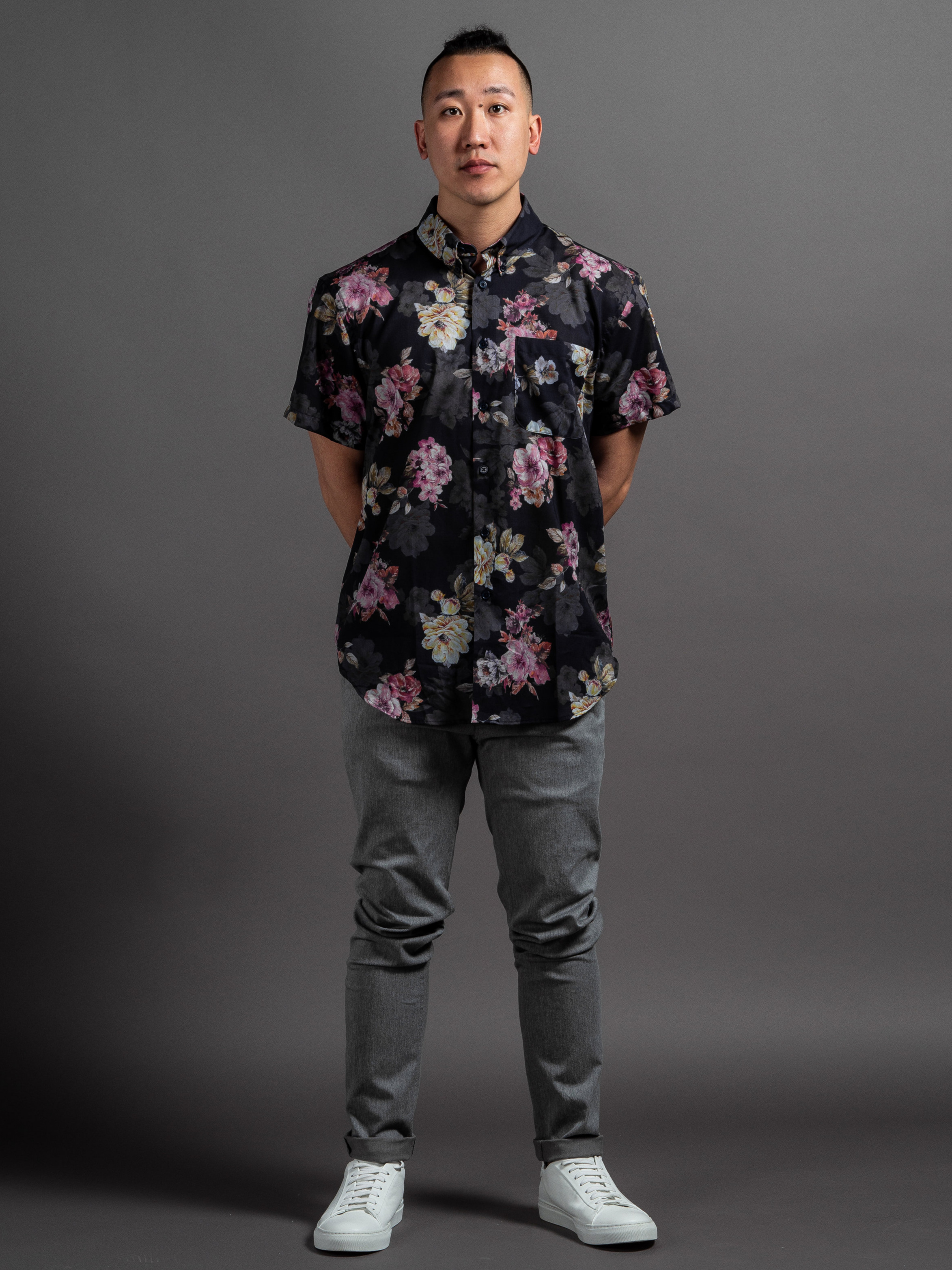 Naked & Famous Flower Painting Shirt  Outclass Stretch Chinos  Wings + Horns White Court Sneakers    SHOP THIS LOOK