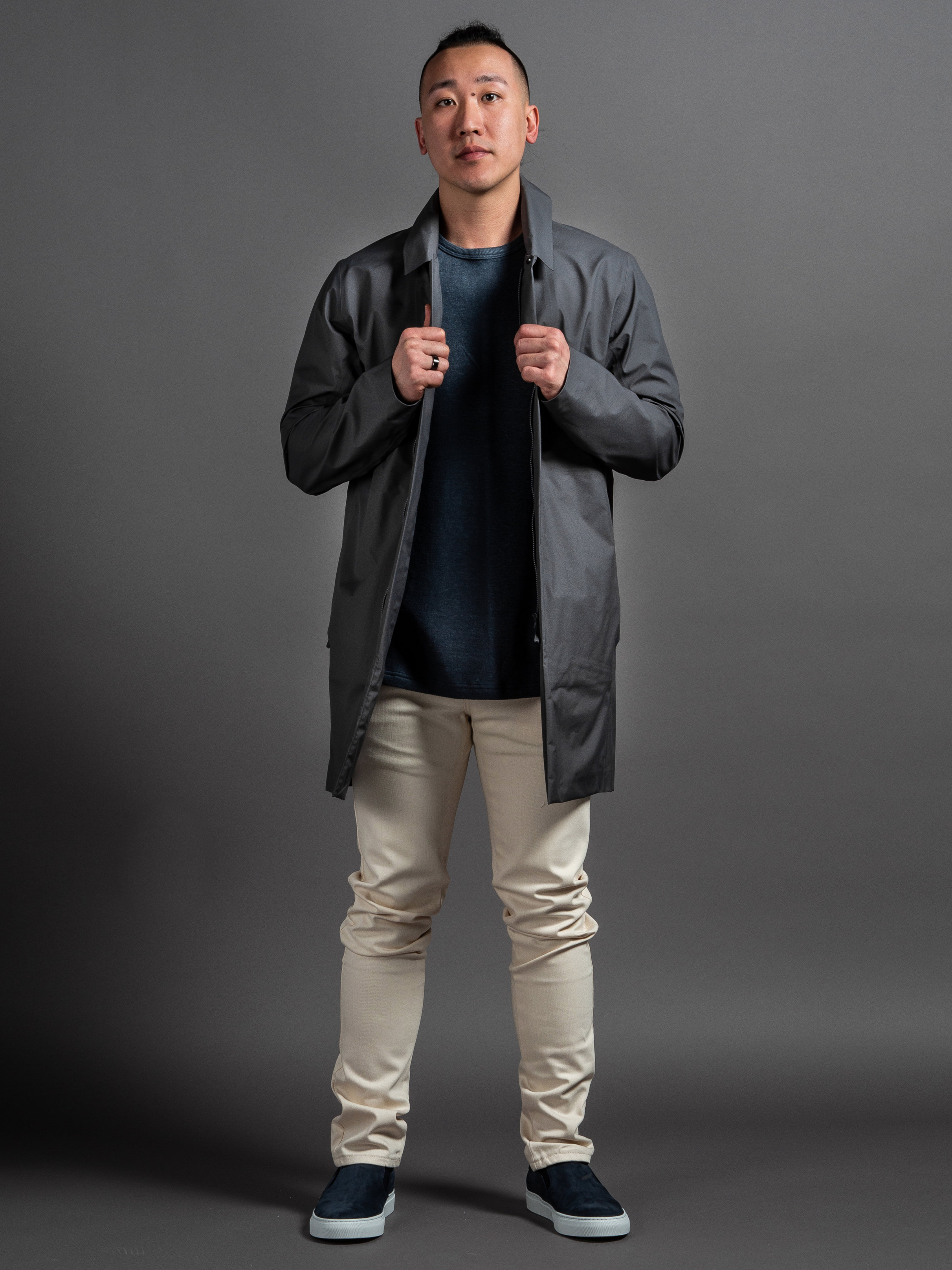 Arc'teryx Veilance Partition LT Jacket  Wings + Horns Knit Linen Tee  Naked & Famous Natural Seed Denim  Wings + Horns Nubuck Slip-Ons    SHOP THIS LOOK