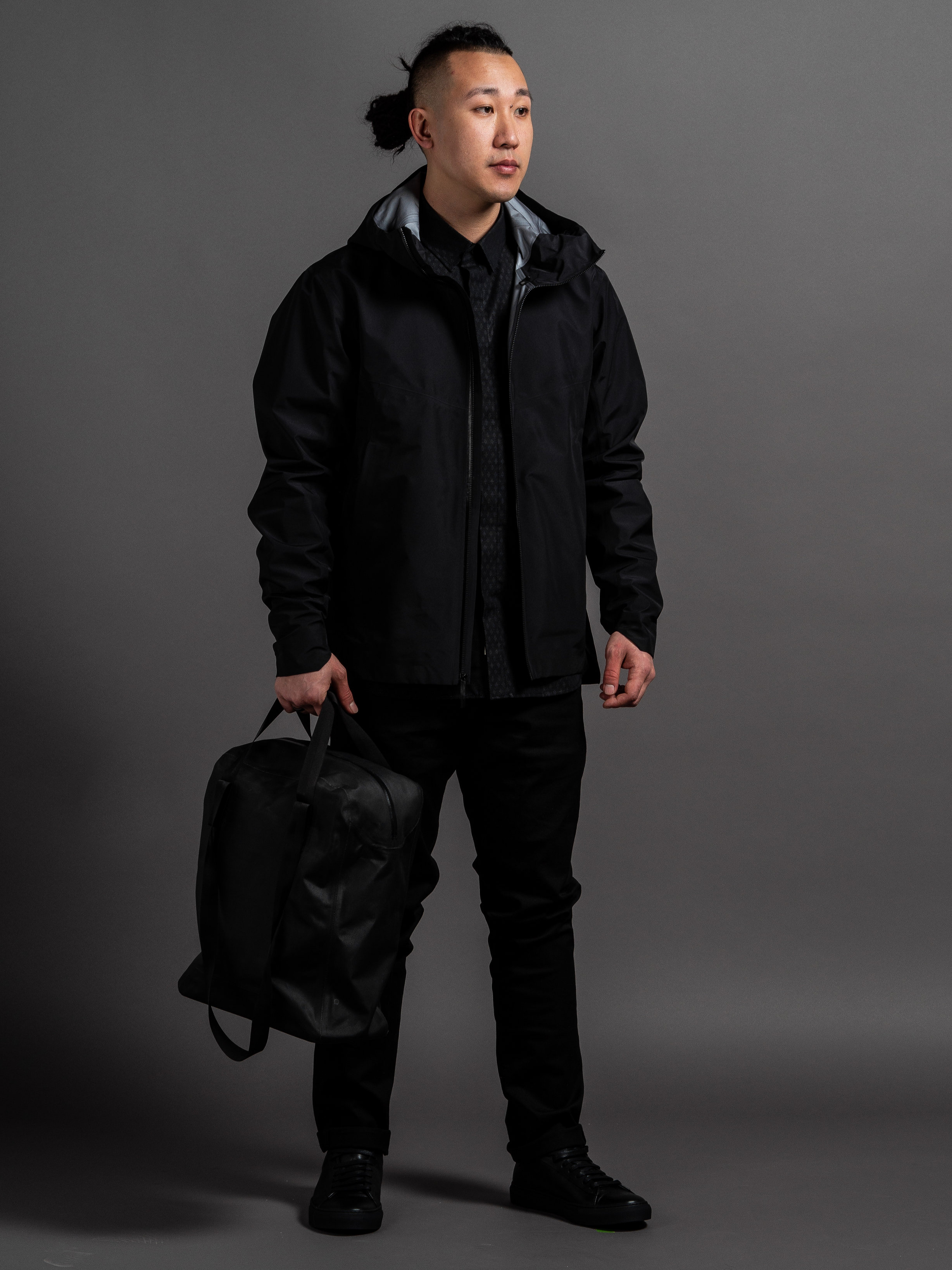 Arc'teryx Veilance Arris Jacket  Outclass Diamond Dobby Dress Shirt  Outclass Stretch Chinos  Arc'teryx Veilance Seque Tote  Wings + Horns Court Sneakers    SHOP THIS LOOK