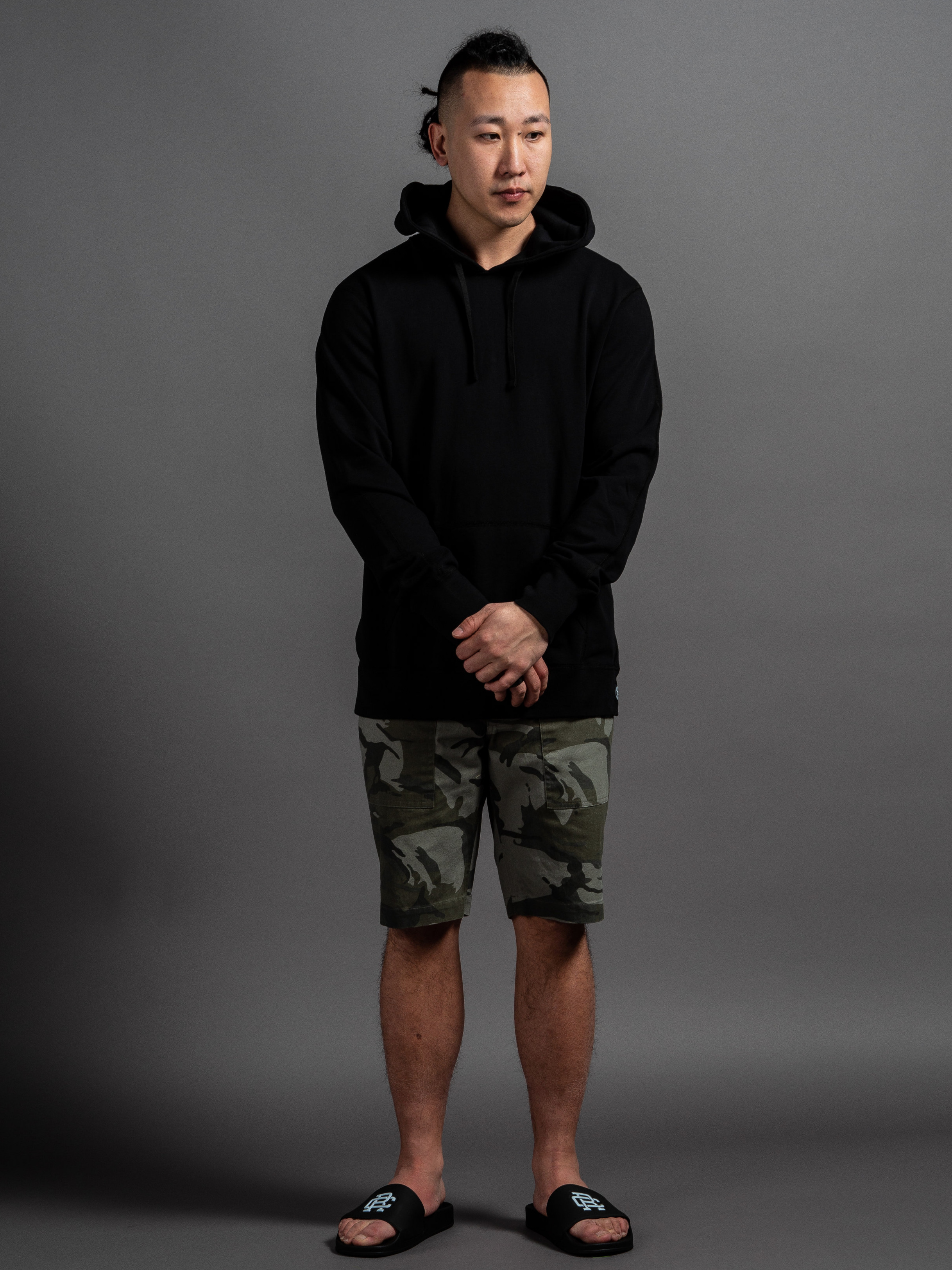 Reigning Champ Lightweight Pullover  Outclass Camouflage Safari Shorts  Reigning Champ Slides    SHOP THIS LOOK