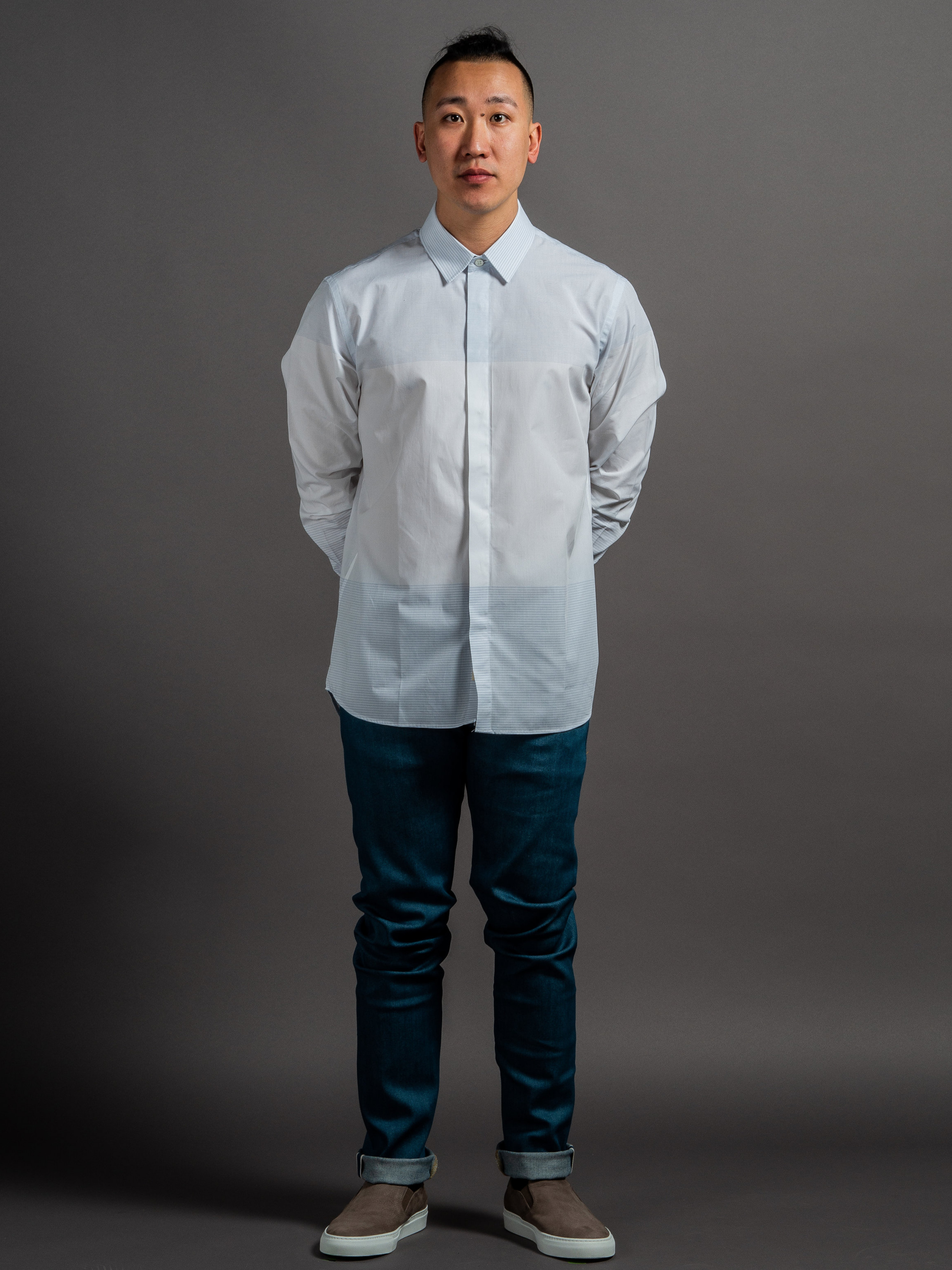 Outclass Engineered Stripe Dress Shirt  Naked & Famous Setouchi Stretch Denim  Wings + Horns Nubuck Slip-Ons    SHOP THIS LOOK