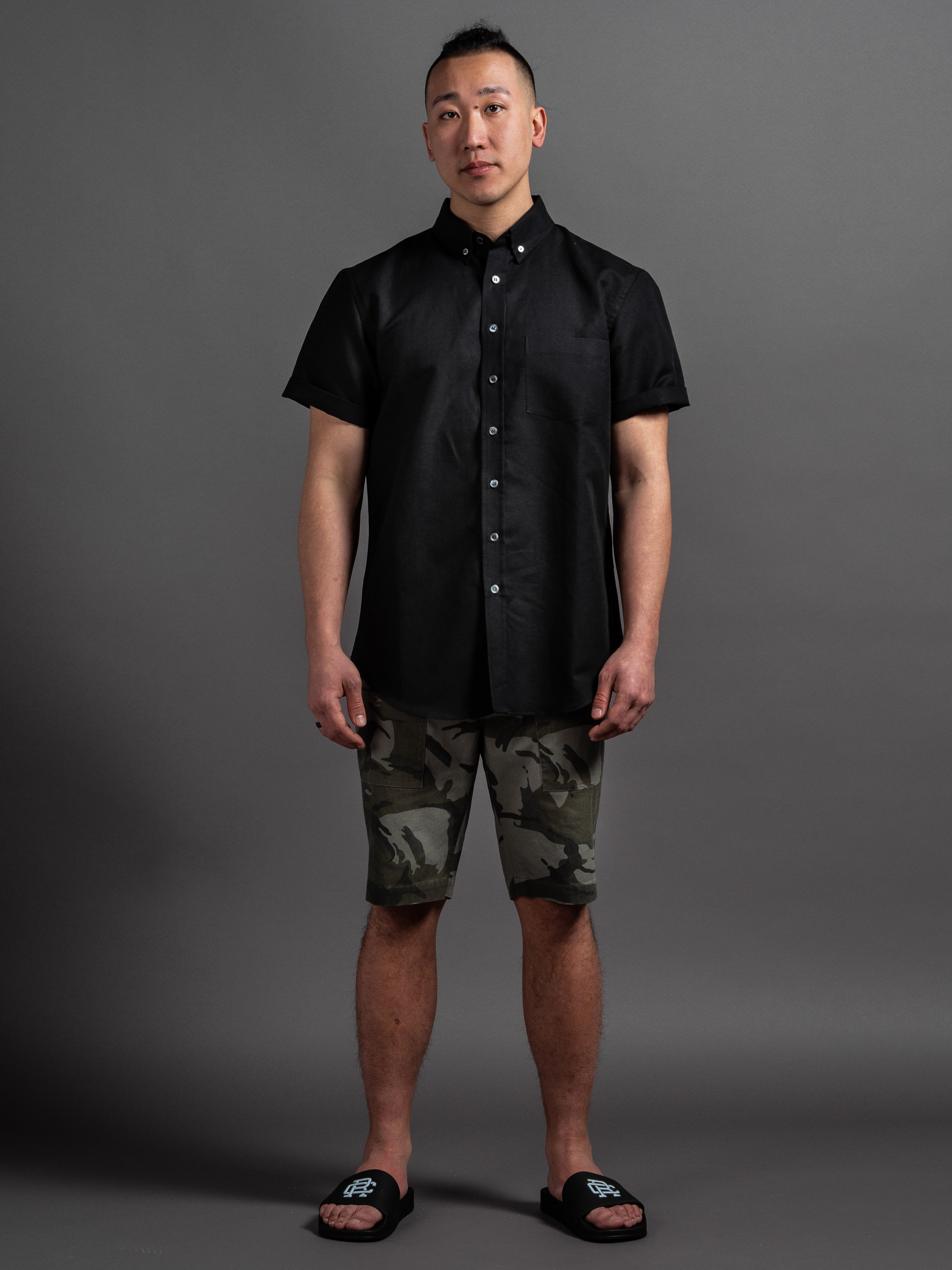 Outclass Linen Short Sleeve  Outclass Camouflage Safari Shorts  Reigning Champ Slides    SHOP THIS LOOK