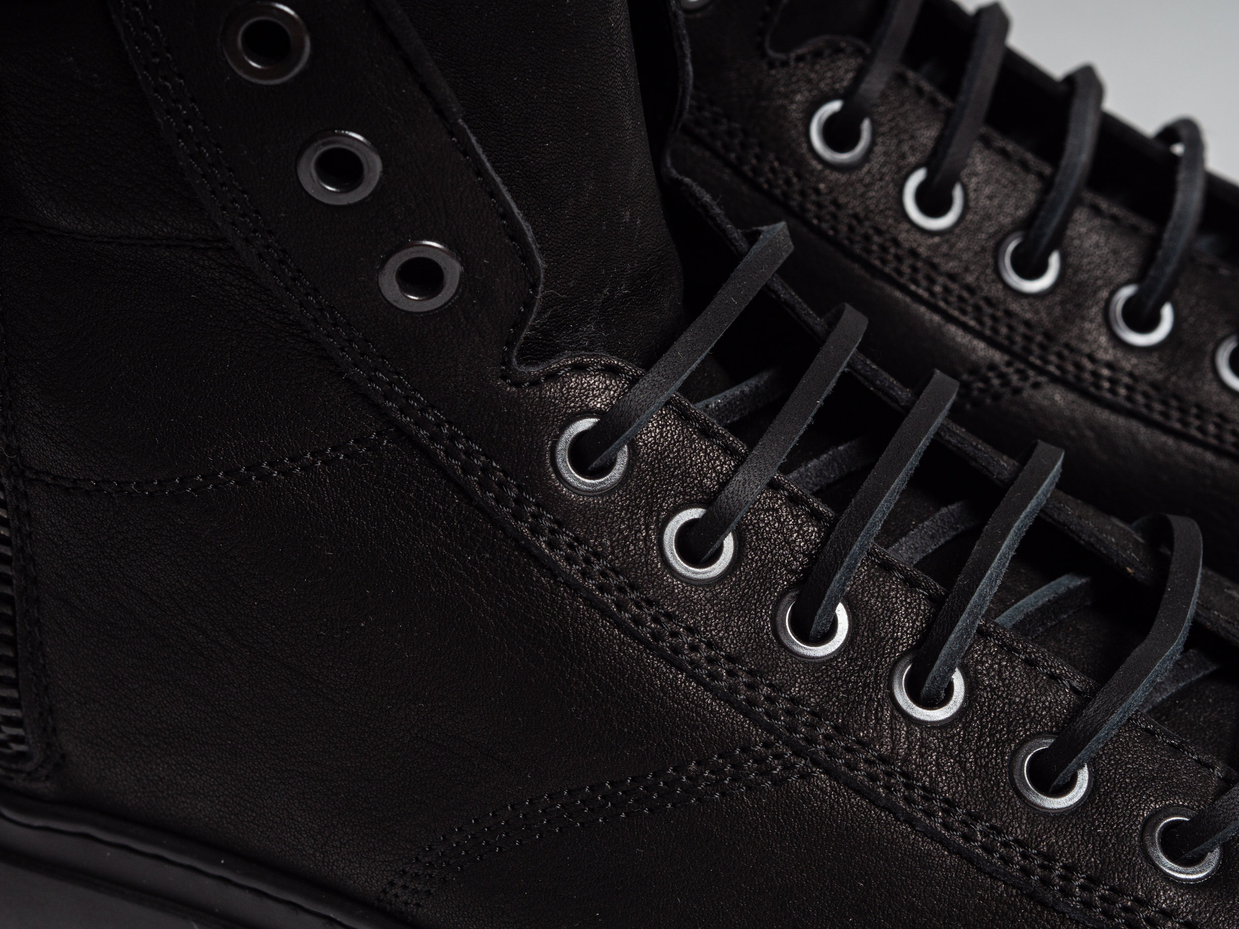 """Wings + Horns Classic Hi Sneaker - The Classic Hi is leather lined, with a cushioned leather footbed, and the iconic """"Serena"""" rubber sole by Margom. They are finished with raw leather laces, and a heavy duty side zipper for easy on and off. The Classic Hi is made in Italy."""