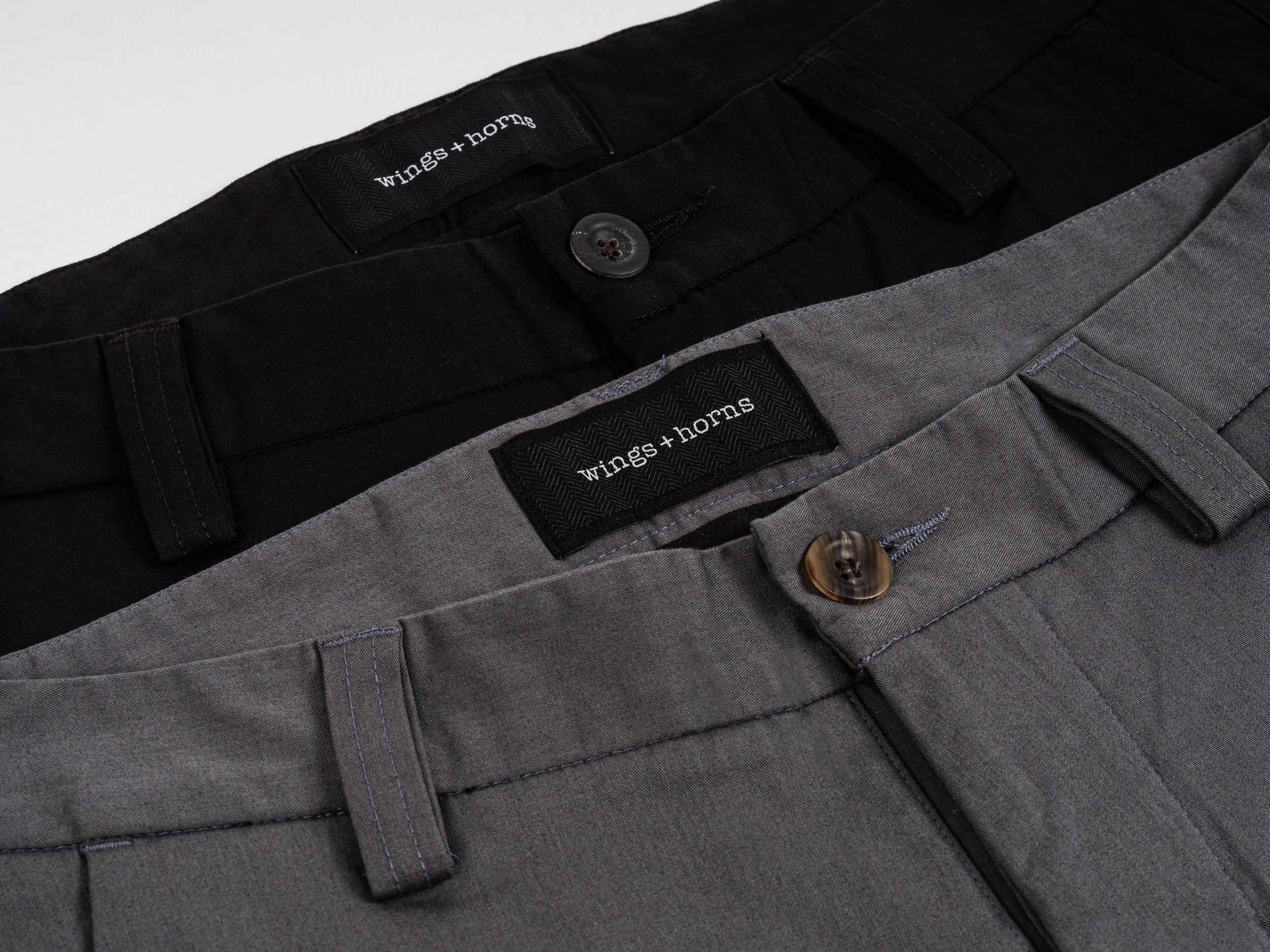 """Wings + Horns Cordura Tokyo Pants - This seasonal take on wings+horns' classic chino is made with a tightly woven Japanese Cordura® nylon, which keeps the pants lightweight, weather resistant, and hard wearing. The """"Tokyo"""" fit features a long rise with relaxed thighs, and a sharply tapered lower leg. The Cordura® Tokyo Pant is finished with doubled belt loops, horn button fly, rear welt pockets, and front slant pockets."""