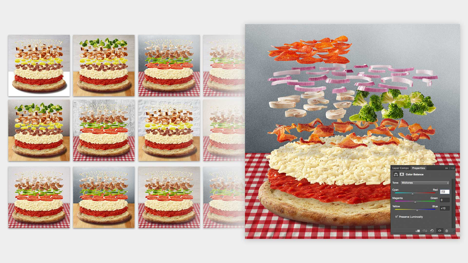 Optimizing the background texture and color balance for the full range of possible toppings.