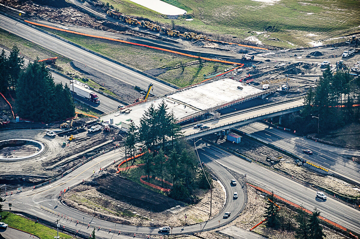 New bridge overpass spanning I-5