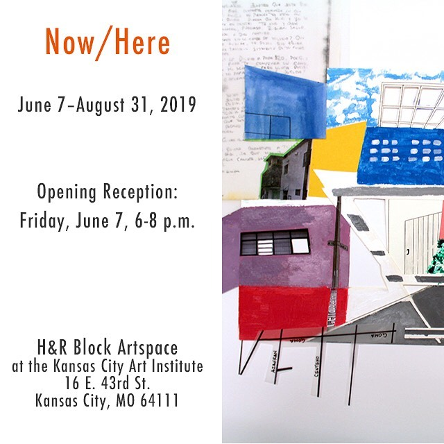 """Now/Here @hrblockartspace June 7 – August 31, 2019 . The H&R Block Artspace at the Kansas City Art Institute presents """"Now/Here,"""" a group exhibition featuring Kansas City-based artists who explore narratives of experience, memory, place, history, and race. Now/Here features a selection of works that include installation, painting, photography, prints, and sculpture, and a range of visual languages and approaches to materiality that consider questions of representation and identity. . Please join us Friday, June 7 from 6-8 p.m. for the opening reception of """"Now/Here"""" at the H&R Block Artspace, located at 16 East 43rd St., Kansas City, MO 64111."""