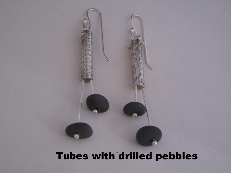 earrings tube with pebbles.JPG