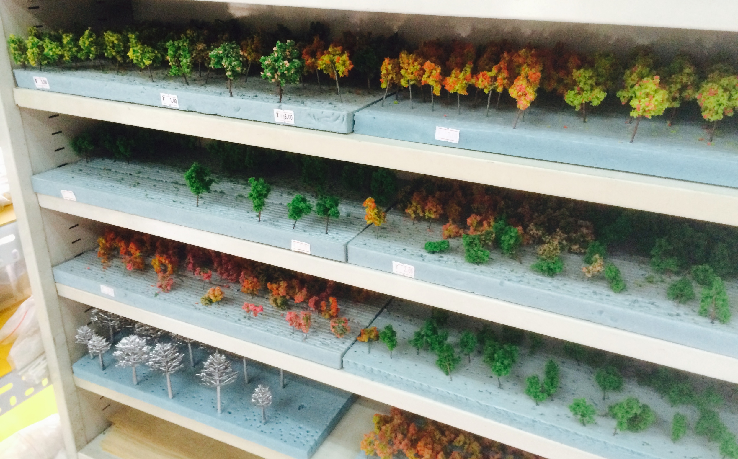 scale model trees from an art supply store called Bai Hua