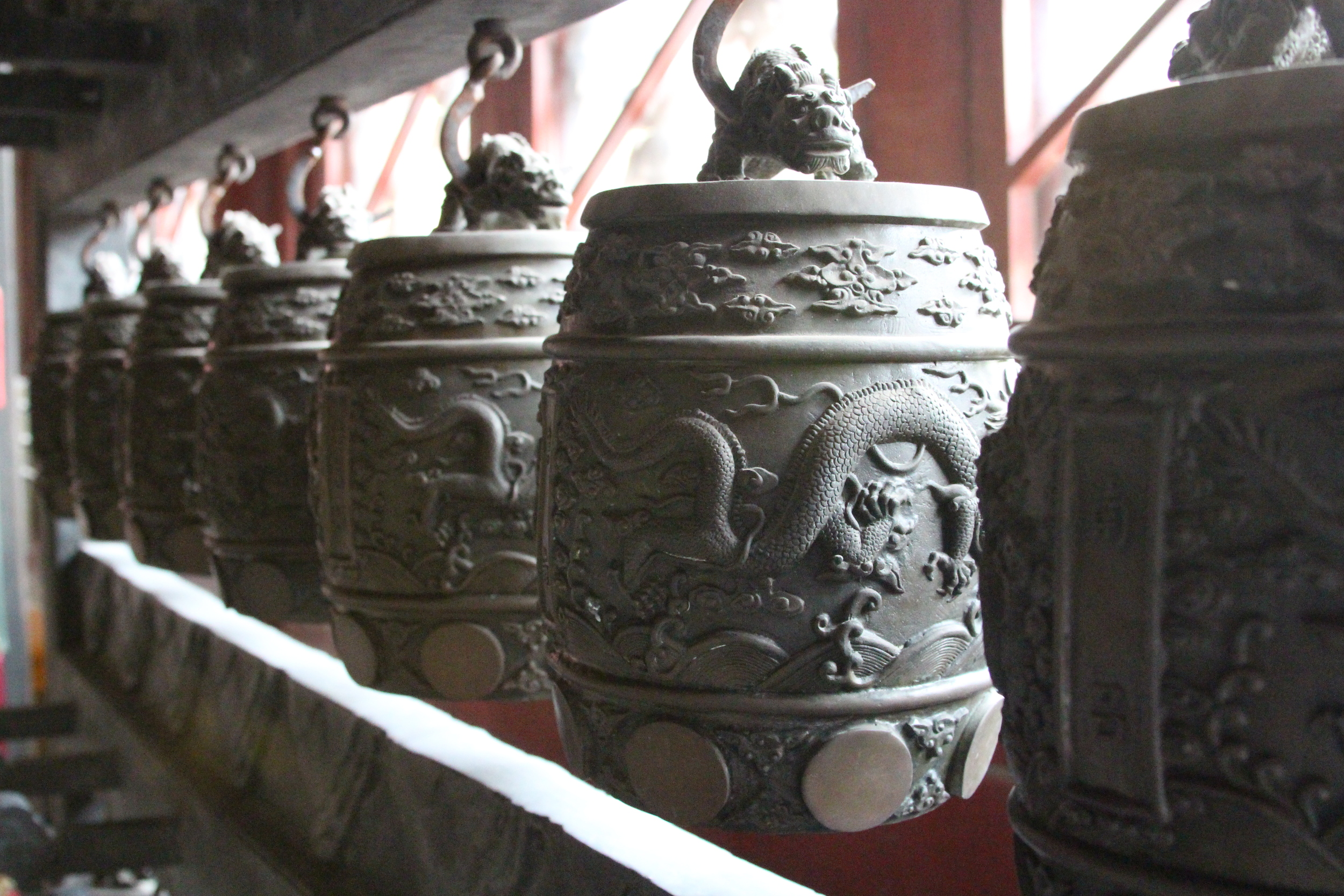 some bells inside the temple
