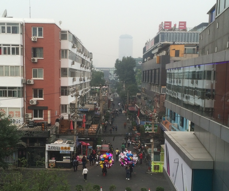 the view onto the alley behind Sanlitun