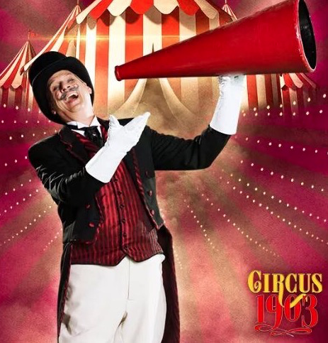 """David Williamson portrays Ringmaster """"Willy Whipsnade"""" in the fabulous international touring show  Circus 1903 ."""