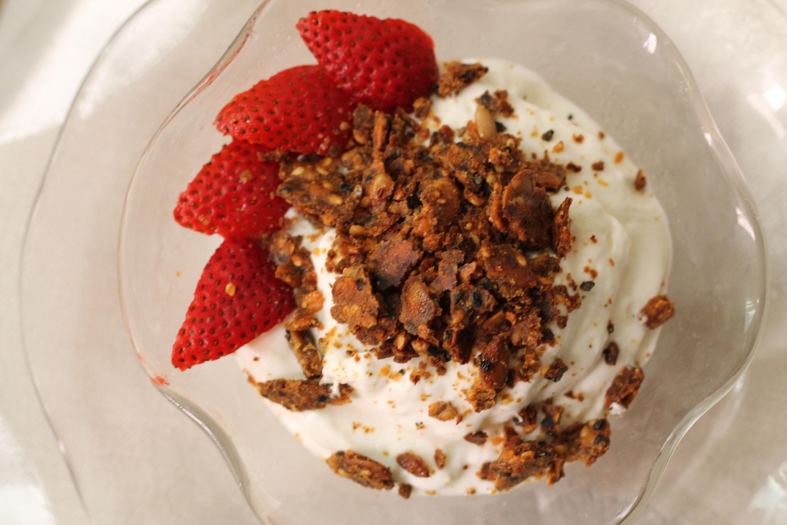 Crumbled Farmerbrowne's on Organic Goat's Milk Yogurt and Strawberries