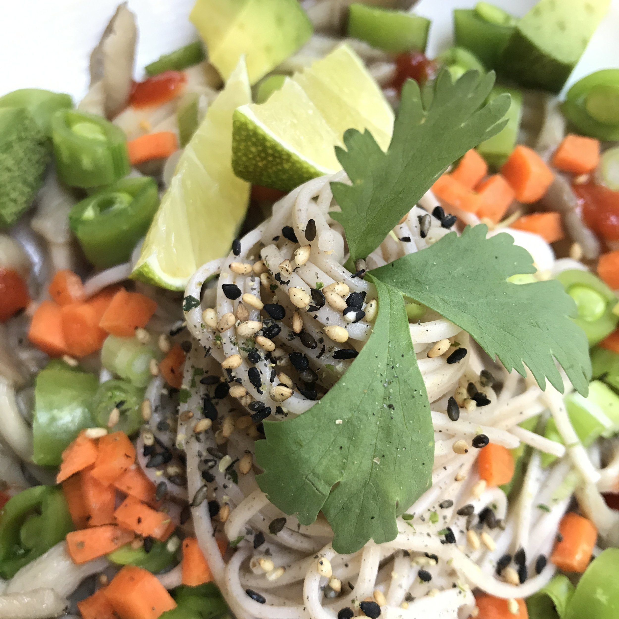 A nice heap of freshly cooked soba noodles topped with fresh diced sugar snap peas, carrots, avocado, green onions and cilantro. A dash of fresh lime juice and extra virgin olive oil and a sprinkle of furikake round out this perfectly balanced plate.        the recipe:    1 package soba noodles (or other noodles of your choosing)  1 cup oyster mushrooms  1/2 cup chopped sugar snap peas  1/4 cup finely chopped carrots  1/4 cup chopped green onions  1/2 ripe avocado, cut into 1 inch cubes  1/2 lime (to juice)  1 tablespoon extra virgin olive oil + extra for sauteing mushrooms   1 tablespoon chopped cilantro  1 teaspoon furikake   salt + pepper   Optional: Sriracha to taste      the plan:    Cook noodles per package instructions. Don't forget to salt the boiling water.  Saute mushrooms with your choice of oil until wilted and soft (I used coconut oil and salt). Chop your vegetables. Pile a spiral of noodles in the center of the plate, arrange mushrooms around the noodles, top with chopped vegetables and sprinkle with lime juice, EVOO, and furikake. Serve at room temperature and enjoy!   You can easily make this a heartier meal by subbing other proteins of your choice.