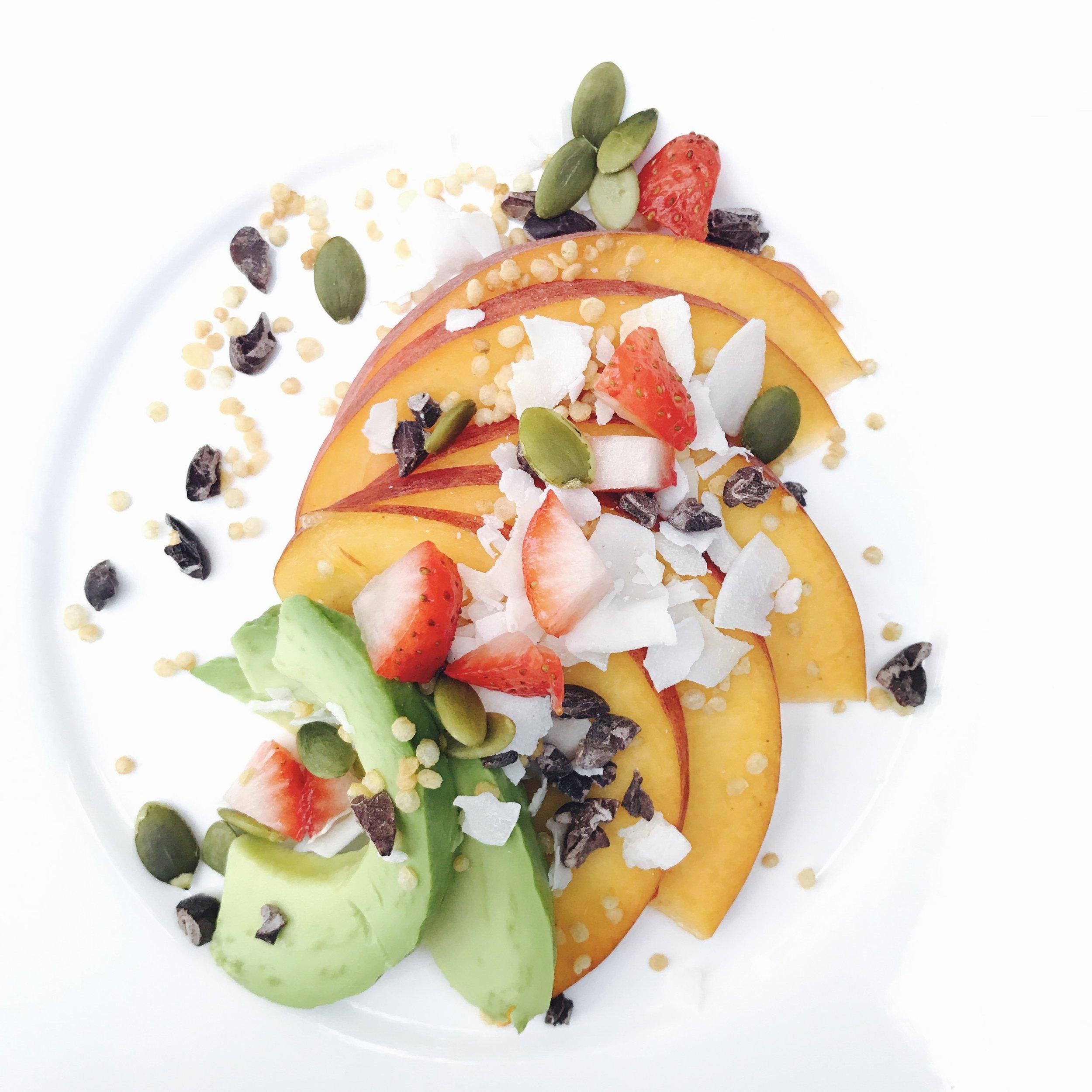 Peaches, Avocado, Strawberries, Pepitas, Cocoa Nibs and Crispy Puffed Quinoa