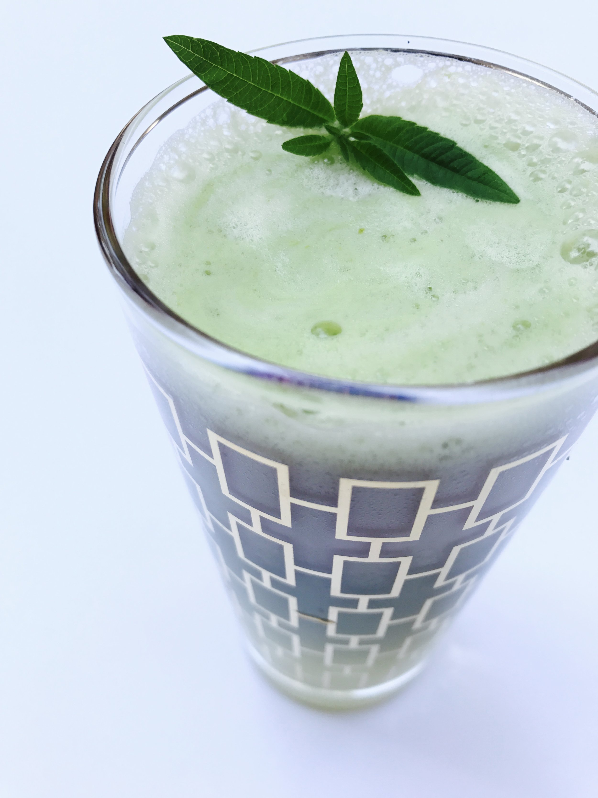 Japanese matcha blended with fresh pineapple, unsweetened almond milk, and fresh mint and lemon verbana.