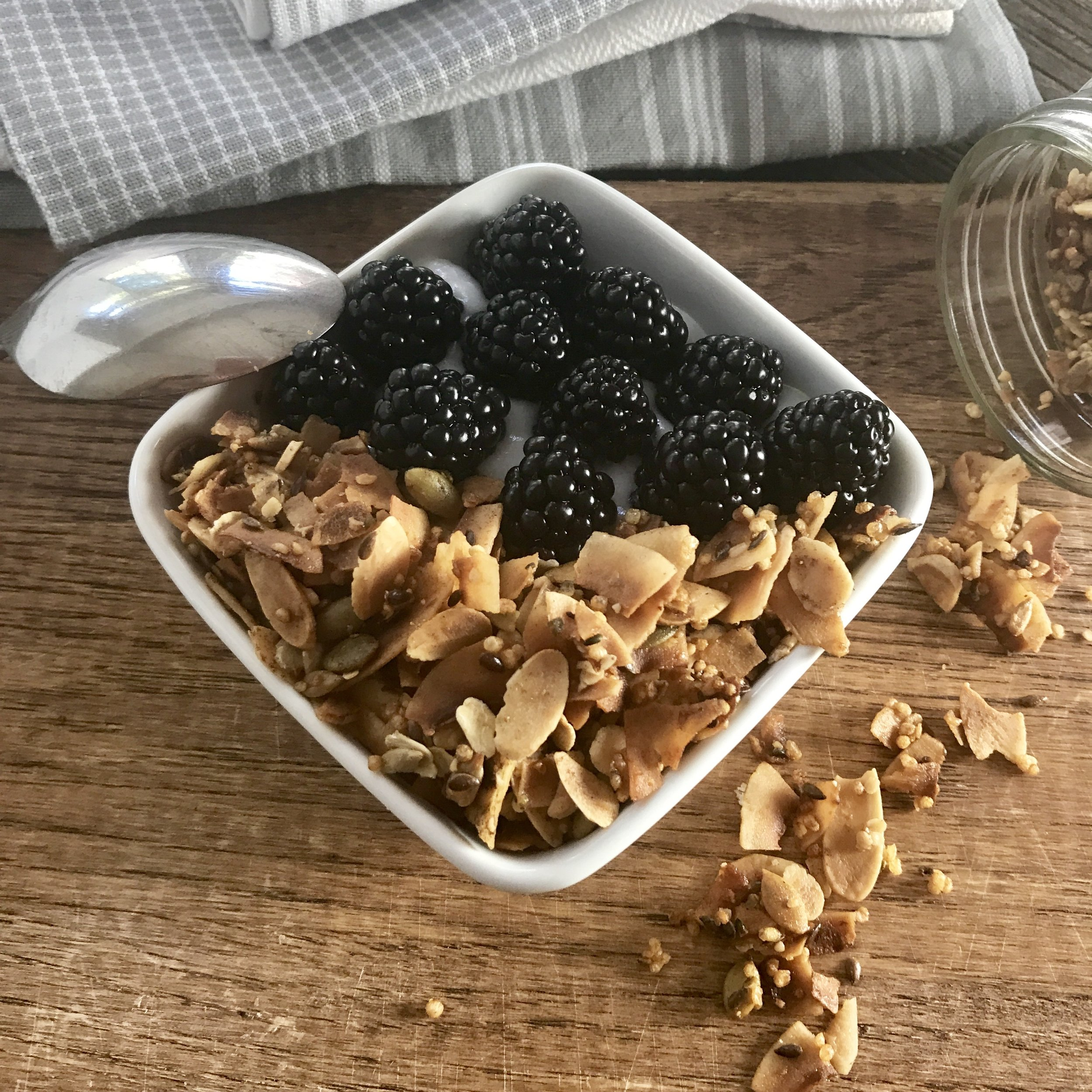 Coconut Flakes, Sliced Almonds, Flax Seeds, Hemp Seeds, Sunflower Seeds, Pumpkin Seeds and Puffed Quinoa