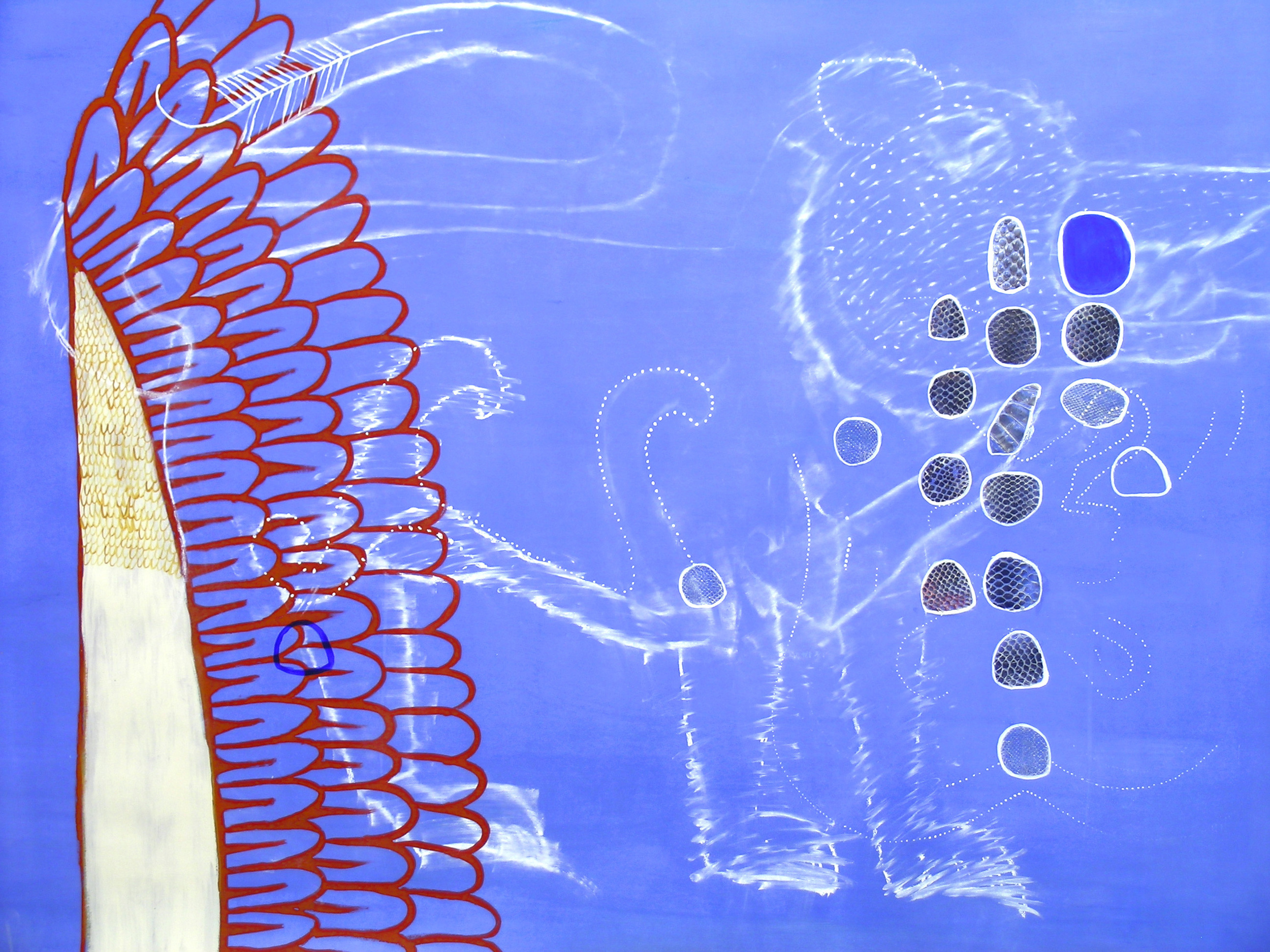 El Cielo Azul, acrylic, charcoal, and snake shedding, 36%22x50%22 .jpg.jpg