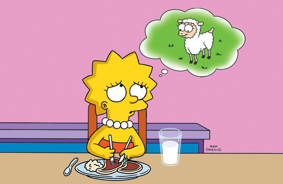 """Lisa Simpson practicing """"ahimsa""""."""