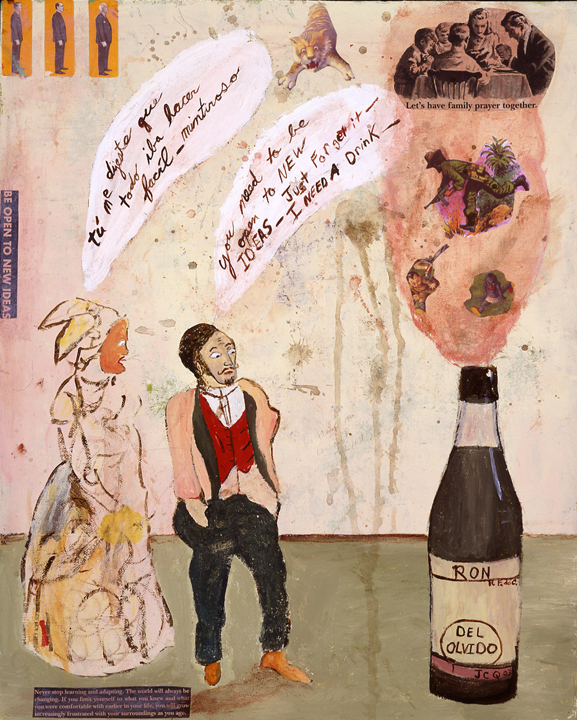 open to new ideas, 24'x18' acrylic and collage on canvas 2003.jpg