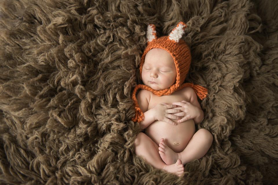 fox hat on baby