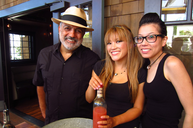 Lil' Twisted Sangrita pop-up with David Ravandi (123 Tequila), Jaymee Mandeville, Cari Hah. (L to R)